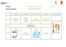Odel Loisirs : Plannings des activités du mois d'août
