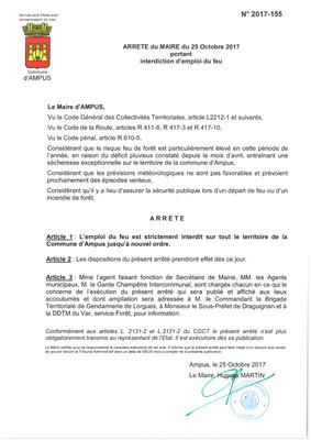 ARRETE DU MAIRE PORTANT INTERDICTION D'EMPLOI DU FEU