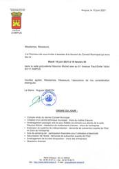 REUNION DU CONSEIL MUNICIPAL LE MARDI 15 JUIN 2021