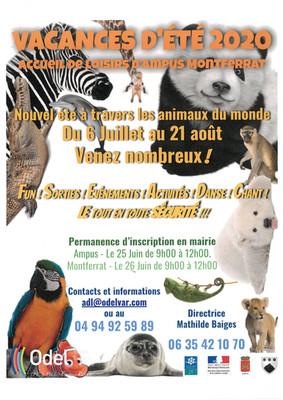 VACANCES D'ETE 2020 : Accueil de loisirs d'Ampus - Montferrat