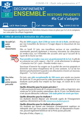COVID-19: CAF Flash info partenaires n°7