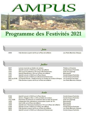 PROGRAMME DES FESTIVITES D'AMPUS 2021