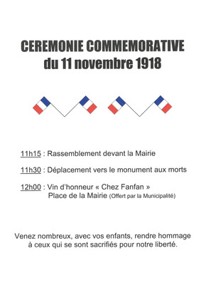 CEREMONIE COMMEMORATIVE du 11 Novembre 1918