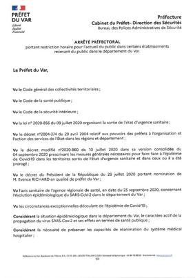COVID-19 : FERMETURE DES DEBITS DE BOISSONS ET DES RESTAURANTS DE 00H00 (MINUIT) A 6H00 DU 1ER AU 15