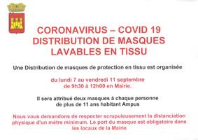 COVID-19 : Distribution de masques