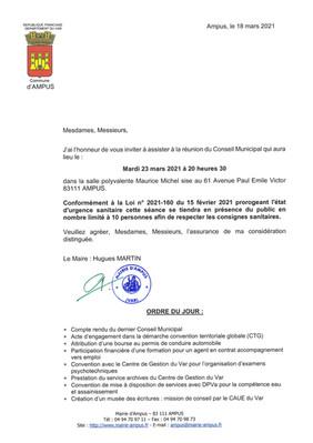 REUNION DU CONSEIL MUNICIPAL LE MARDI 23 MARS 2021