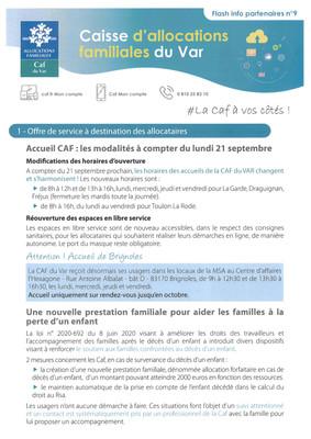 COVID-19: CAF Flash info partenaires n°9