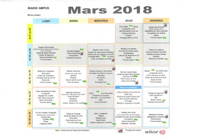 Menus scolaires MARS 2018