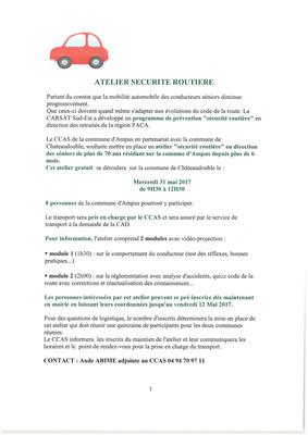Le CCAS de la commune organise en partenariat avec la commune de Chateaudouble un atelier sécurité r