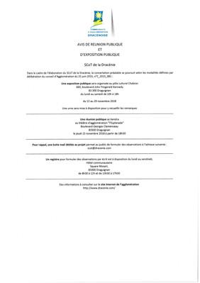 Avis de réunion publique et d'exposition publique (SCoT de la Dracénie)