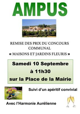 """Remise des prix """"Maisons et Jardins Fleuris"""" samedi 10 septembre"""