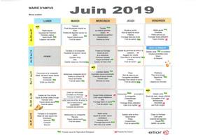 Menus scolaires Juin 2019