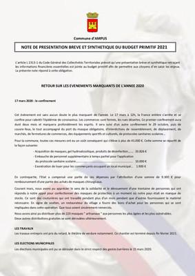 NOTE DE PRESENTATION BREVE ET SYNTHETIQUE DU BUDGET PRIMITIF 2021