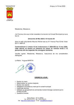 Réunion du Conseil Municipal le Dimanche 24 Mai 2020