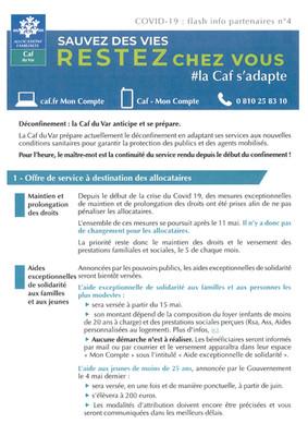 Covid-19 : Flash Info CAF du Var n°4
