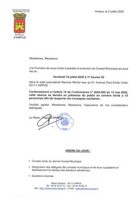 Réunion du Conseil Municipal le 10 Juillet 2020
