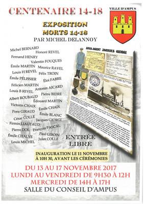 CHANGEMENT D'HORAIRE POUR L'INAUGURATION DE L'EXPOSITION SUR LA GUERRE DE 14-18