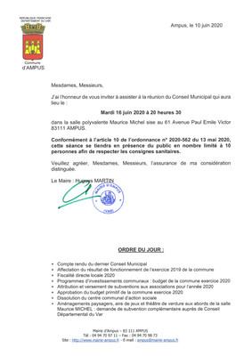 Réunion du Conseil Municipal le 16 Juin 2020