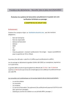 PROCEDURE DES DECHETTERIES - NOUVELLE MISE EN PLACE DE LA FACTURATION