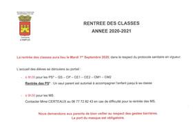 RENTRÉE DES CLASSES - ANNÉE 2020-2021