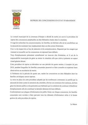 REPRISE DE CONCESSIONS EN ETAT D'ABANDON