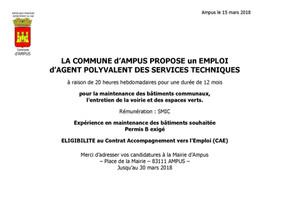 OFFRE D'EMPLOI : CAE AGENT POLYVALENT DES SERVICES TECHNIQUES