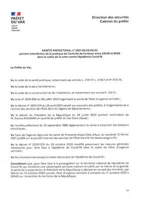 ARRETE PREFECTORAL INTERDISANT LA PRATIQUE DE LIVRAISON ENTRE 22H30 ET 6H00