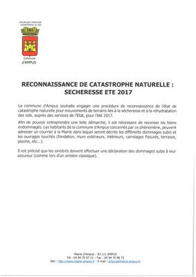 RECONNAISSANCE DE CATASTROPHE NATURELLE : SÉCHERESSE