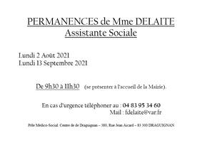 PERMANENCES DE MME DELAITE - ASSISTANTE SOCIALE