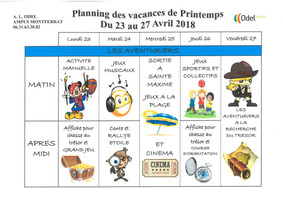 Planning Vacances de Printemps ODEL