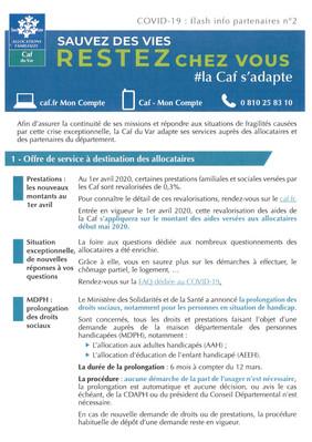 Covid-19 : Flash Info CAF du Var n°2