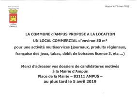 Avis d'information : location d'un local commercial sur la commune.