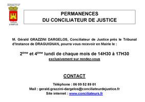 PERMANENCES DU CONCILIATEUR DE JUSTICE