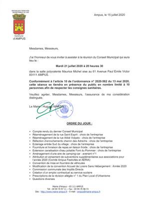 Réunion du Conseil Municipal le 21 Juillet 2020