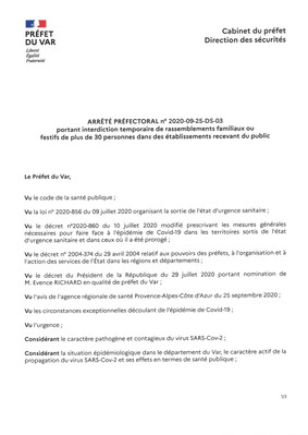 COVID-19 : ARRETE PREFECTORAL PORTANT INTERDICTION TEMPORAIRE DE RASSEMBLEMENTS FAMILIAUX OU FESTIFS