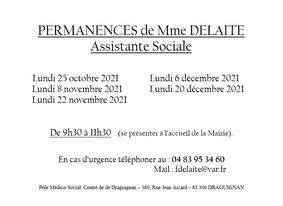 PERMANENCES MME DELAITE - ASSISTANTE SOCIALE