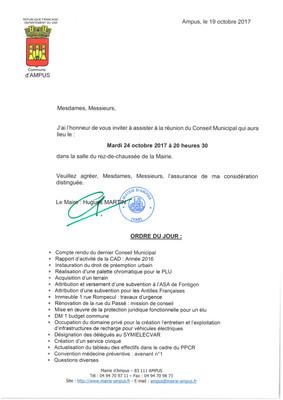 CONSEIL MUNICIPAL LE MARDI 24 OCTOBRE 2017