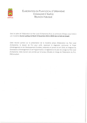 P.L.U. : prochaine réunion publique