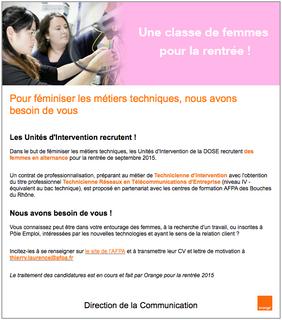 Les unités d'interventions d'Orange recrutent une classe de femmes