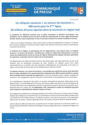 """REGION SUD : UN CHÉQUIER VACANCES """"AU SECOURS DU TOURISME"""""""