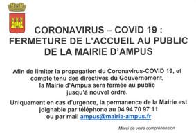 CORONAVIRUS – COVID 19 : FERMETURE DE L'ACCUEIL AU PUBLIC DE LA MAIRIE D'AMPUS