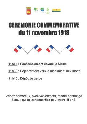 CEREMONIE COMMEMORATIVE DU 11 NOVEMBRE 1918