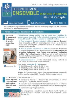 COVID-19: CAF Flash info partenaires n°8
