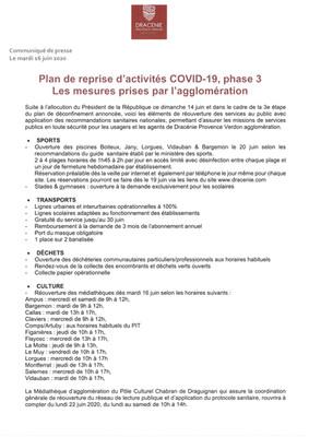 Plan de reprise d'activités COVID-19, phase 3 : Les mesures prises par l'agglomération