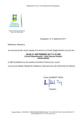 CONSEIL d' AGGLOMERATION le 21/09/2017