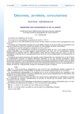 CORONAVIRUS : INTERDICTION RASSEMBLEMENT DE PLUS DE 1000 PERSONNES
