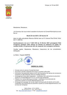 REUNION DU CONSEIL MUNICIPAL LE MARDI 25 MAI 2021