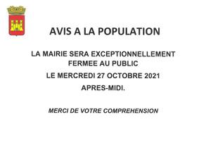 FERMETURE EXCEPTIONNELLE DE LA MAIRIE D'AMPUS AU PUBLIC LE MERCREDI 27 OCTOBRE 2021 APRES-MIDI