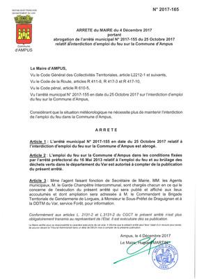 Arrêté du Maire du 04/12/2017
