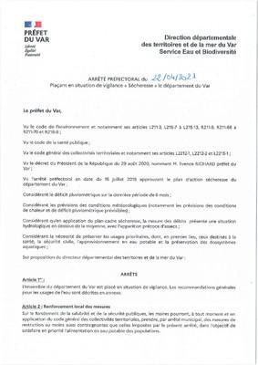 """ARRETE PREFECTORAL DU 22/04/2021 VIGILANCE """"SECHERESSE"""" DANS LE DEPARTEMENT DU VAR"""